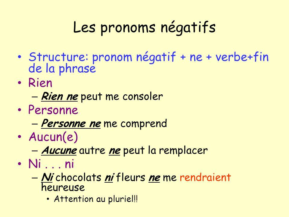 Les pronoms négatifs Structure: pronom négatif + ne + verbe+fin de la phrase. Rien. Rien ne peut me consoler.