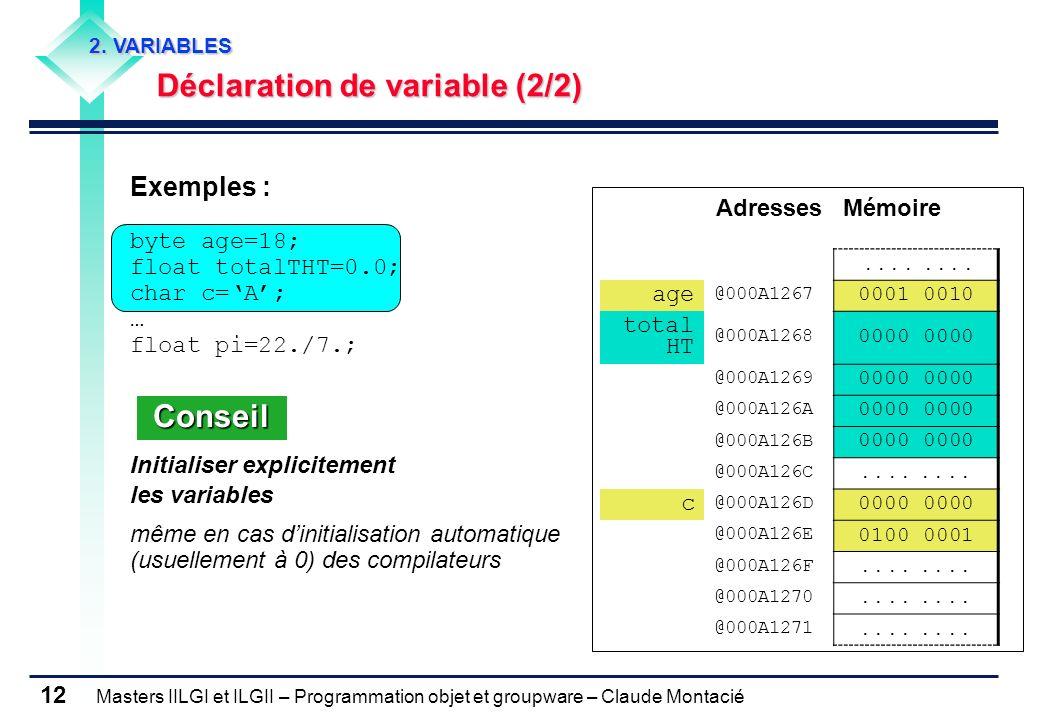 Conseil Exemples : Déclaration de variable (2/2) byte age=18;