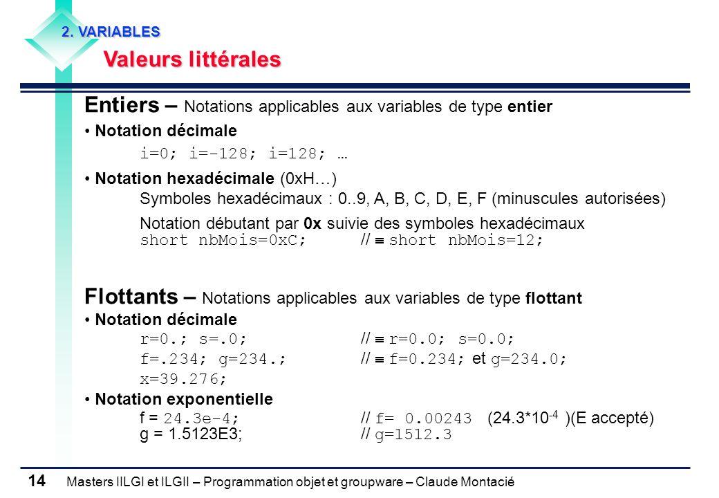 Entiers – Notations applicables aux variables de type entier
