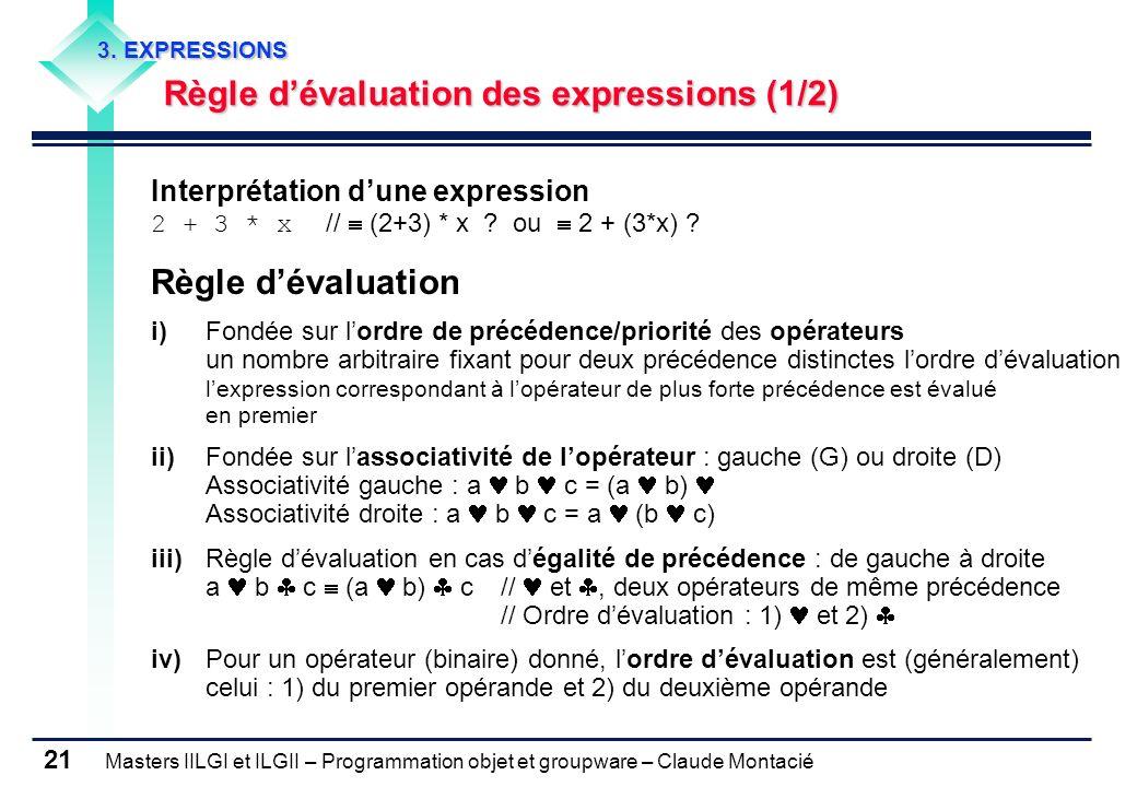 3. EXPRESSIONS Règle d'évaluation des expressions (1/2) Interprétation d'une expression 2 + 3 * x //  (2+3) * x ou  2 + (3*x)