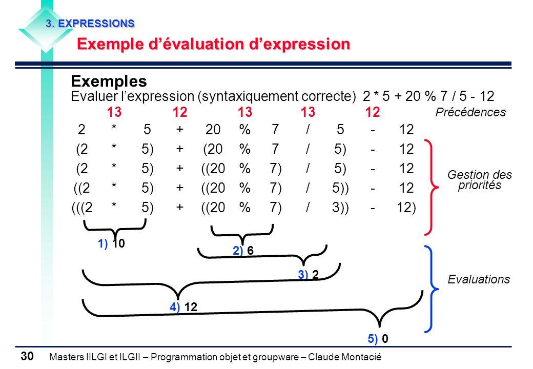 3. EXPRESSIONS Exemple d'évaluation d'expression. Exemples. Evaluer l'expression (syntaxiquement correcte) 2 * 5 + 20 % 7 / 5 - 12.
