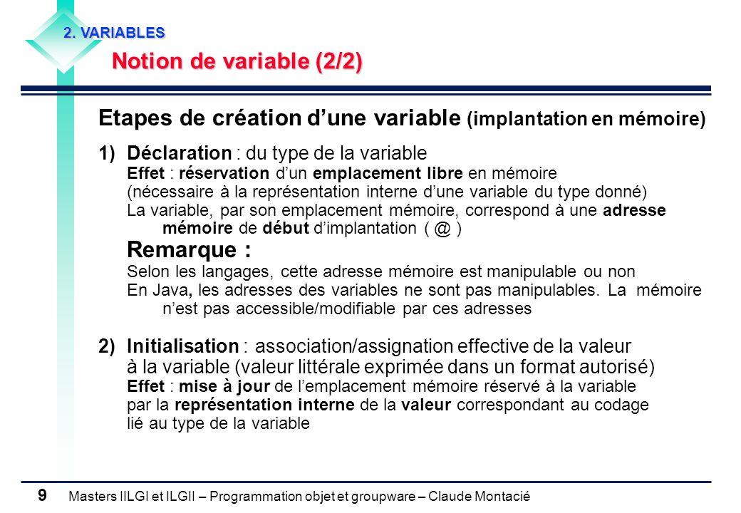 Etapes de création d'une variable (implantation en mémoire)