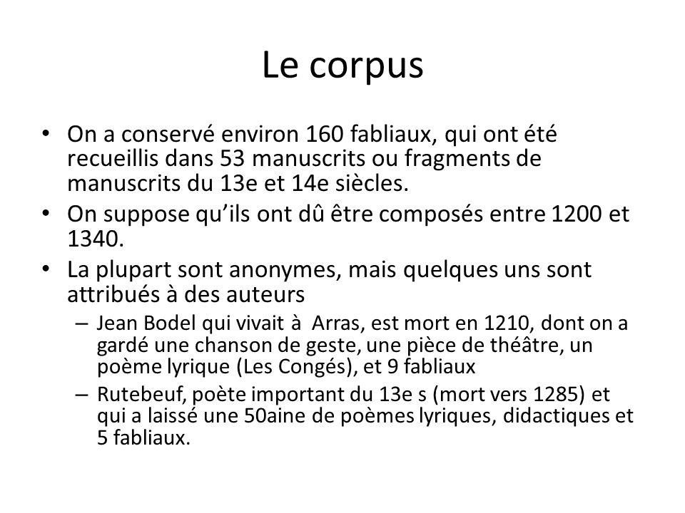 Le corpus On a conservé environ 160 fabliaux, qui ont été recueillis dans 53 manuscrits ou fragments de manuscrits du 13e et 14e siècles.