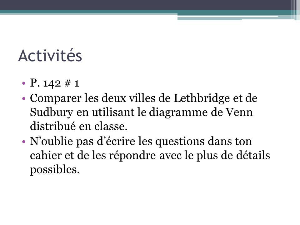 ActivitésP. 142 # 1. Comparer les deux villes de Lethbridge et de Sudbury en utilisant le diagramme de Venn distribué en classe.