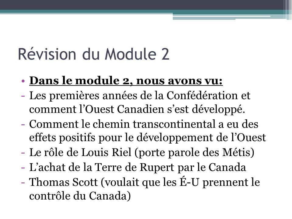 Révision du Module 2 Dans le module 2, nous avons vu:
