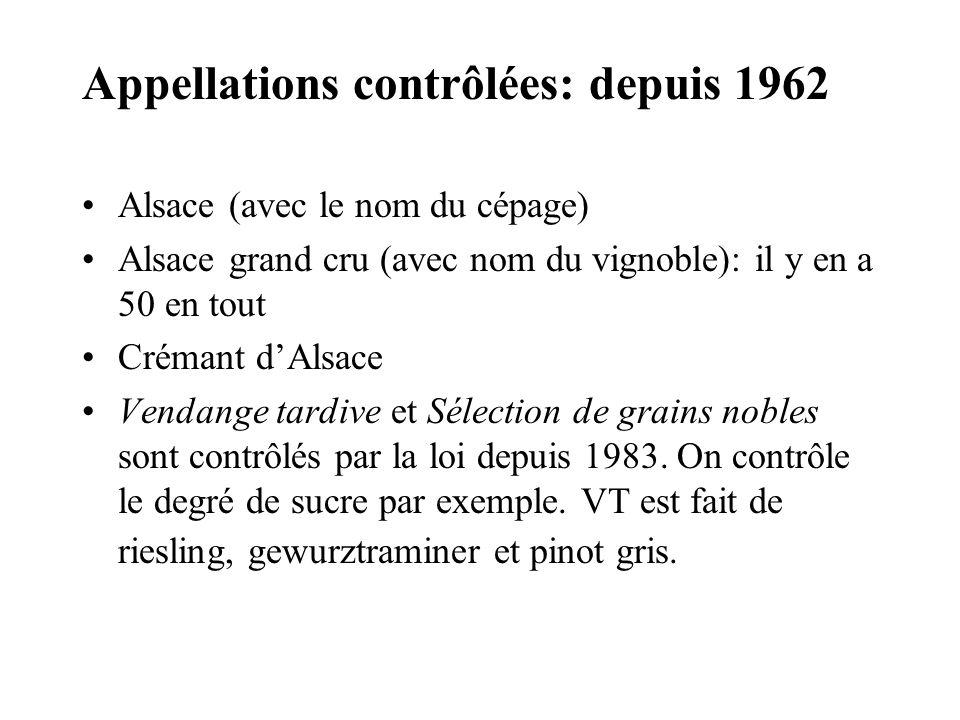 Appellations contrôlées: depuis 1962