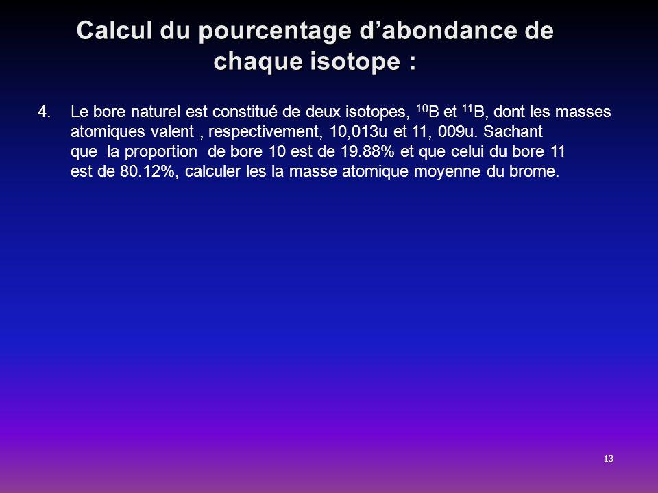 Calcul du pourcentage d'abondance de chaque isotope :