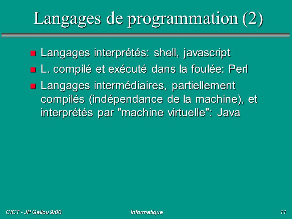 Langages de programmation (2)