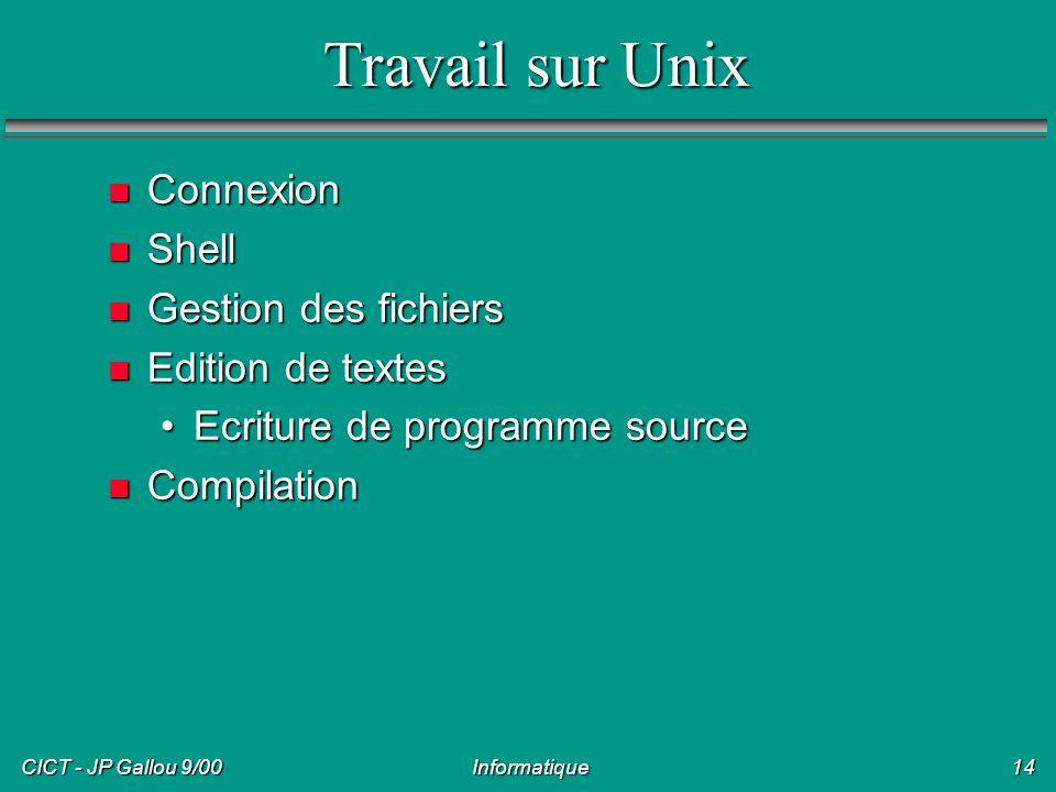 Travail sur Unix Connexion Shell Gestion des fichiers