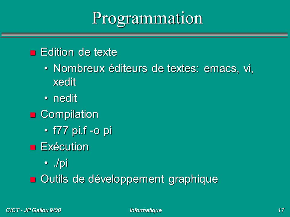 Programmation Edition de texte