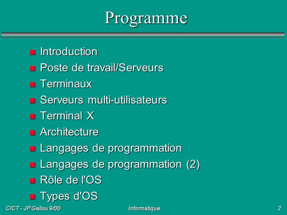Programme Introduction Poste de travail/Serveurs Terminaux