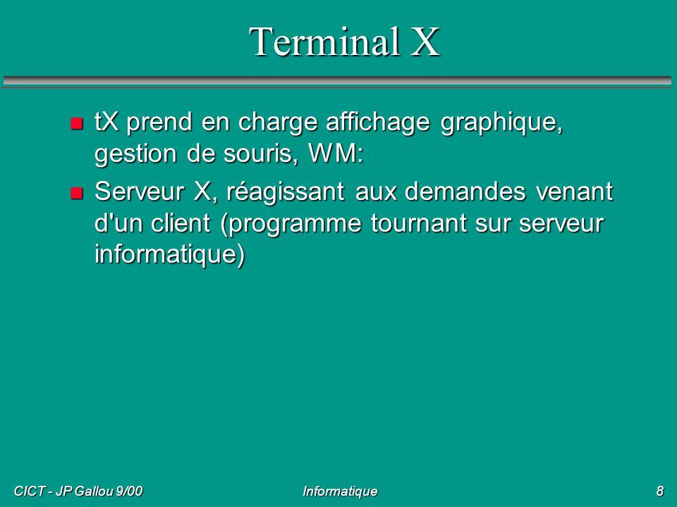 Terminal X tX prend en charge affichage graphique, gestion de souris, WM: