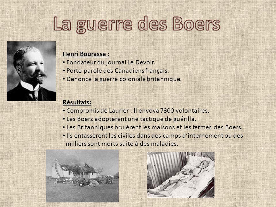 La guerre des Boers Henri Bourassa : Fondateur du journal Le Devoir.