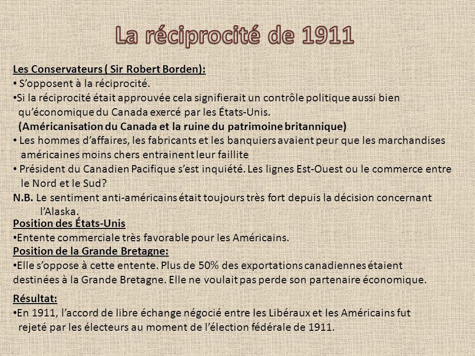 La réciprocité de 1911 Les Conservateurs ( Sir Robert Borden):