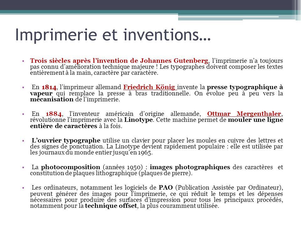 Imprimerie et inventions…