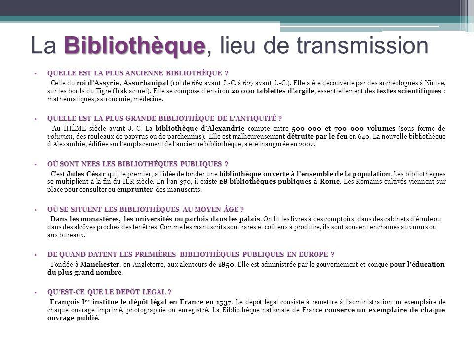 La Bibliothèque, lieu de transmission