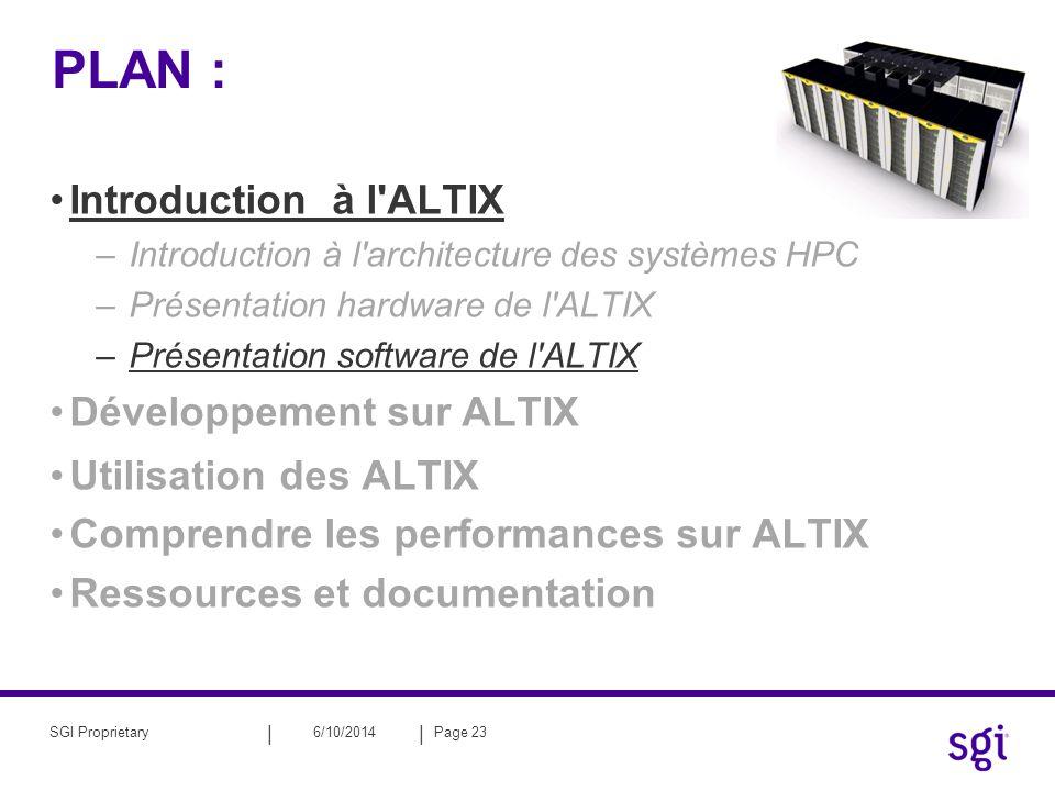 PLAN : Introduction à l ALTIX Développement sur ALTIX
