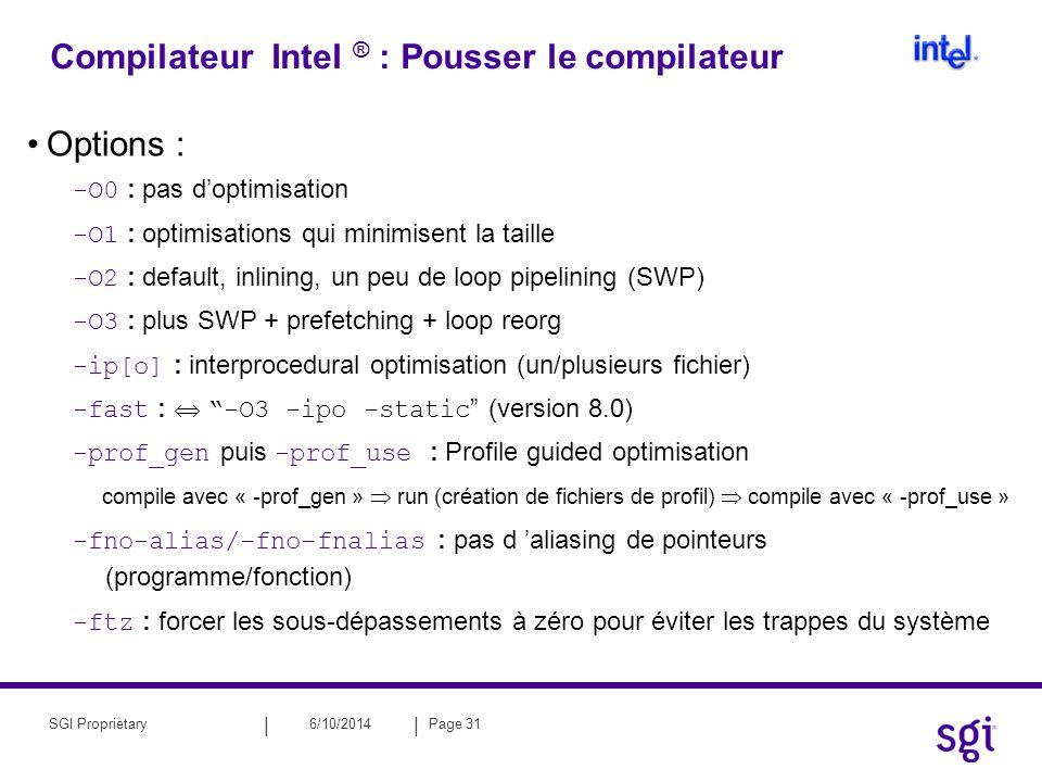 Compilateur Intel ® : Pousser le compilateur