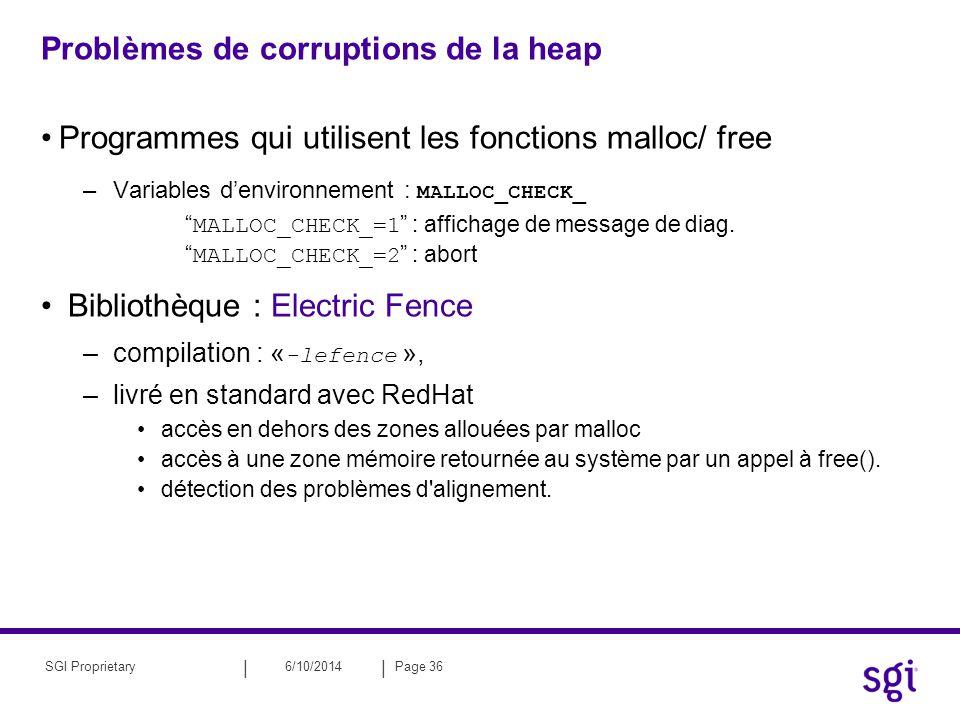 Problèmes de corruptions de la heap