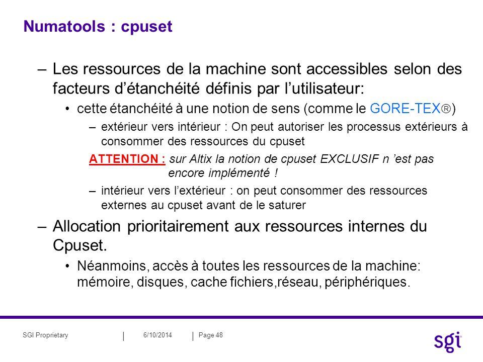 Allocation prioritairement aux ressources internes du Cpuset.