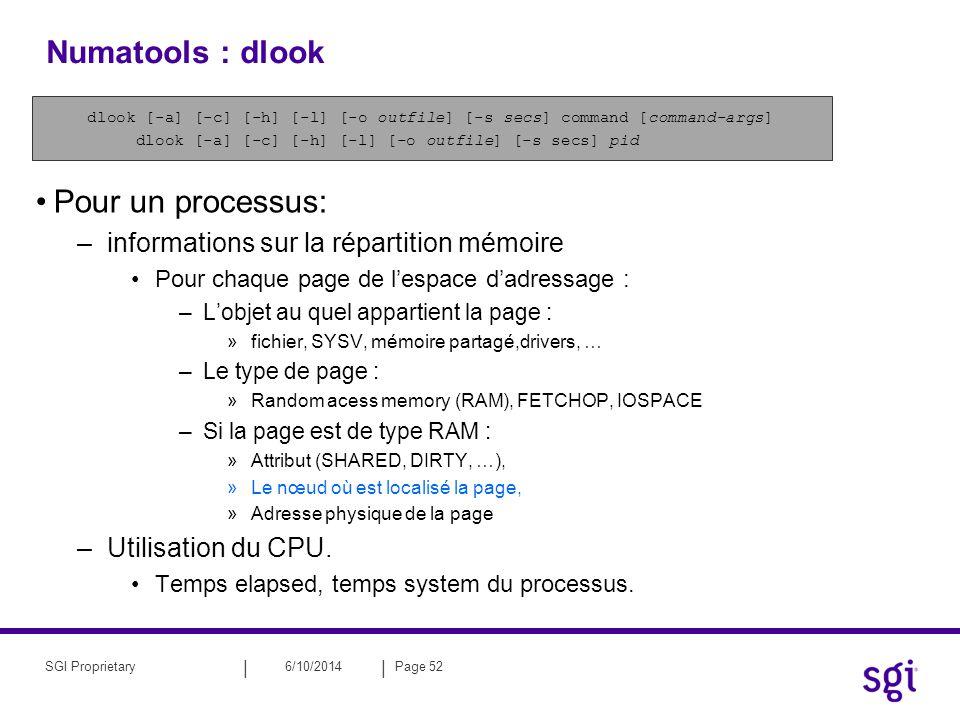 Numatools : dlook Pour un processus:
