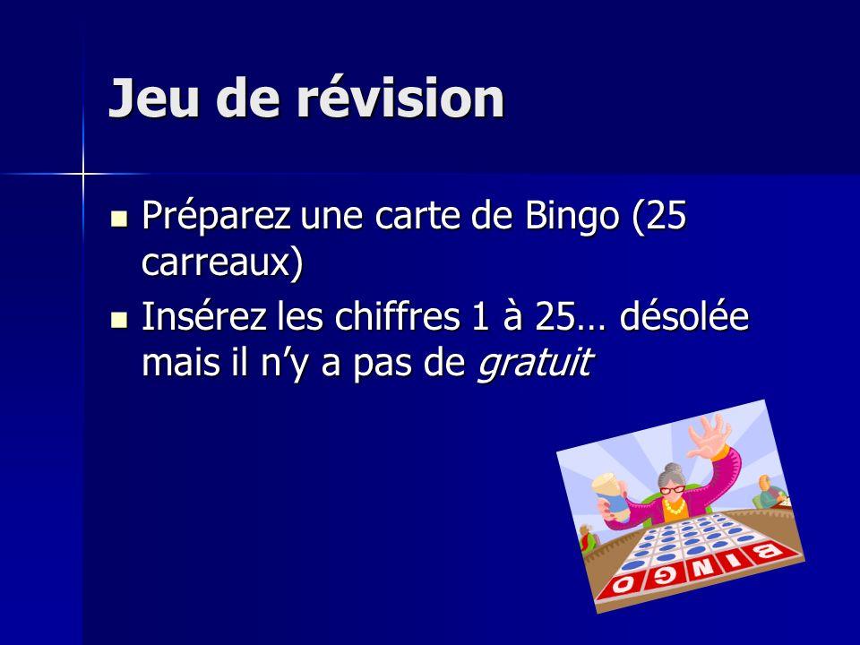 Jeu de révision Préparez une carte de Bingo (25 carreaux)