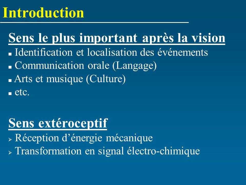 Introduction Sens le plus important après la vision Sens extéroceptif