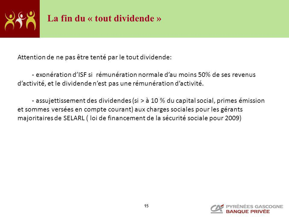 La fin du « tout dividende »