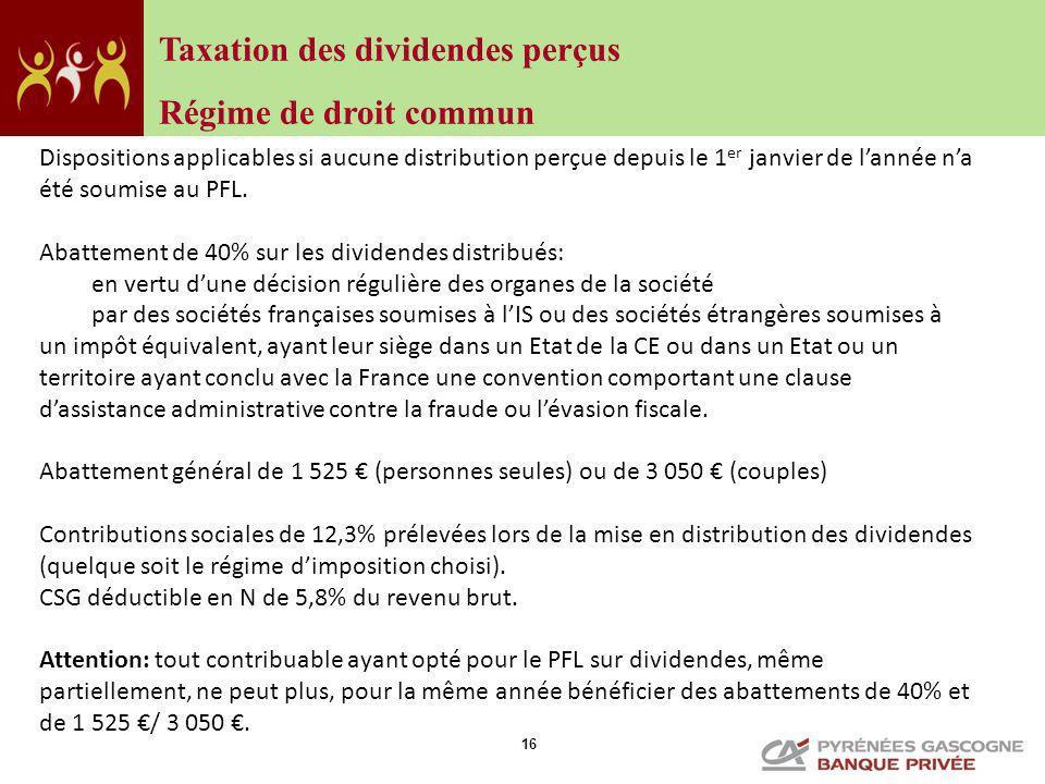 Taxation des dividendes perçus Régime de droit commun