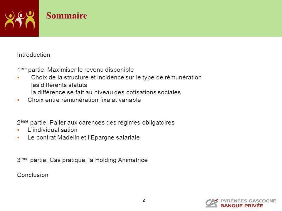 Sommaire Introduction 1ère partie: Maximiser le revenu disponible