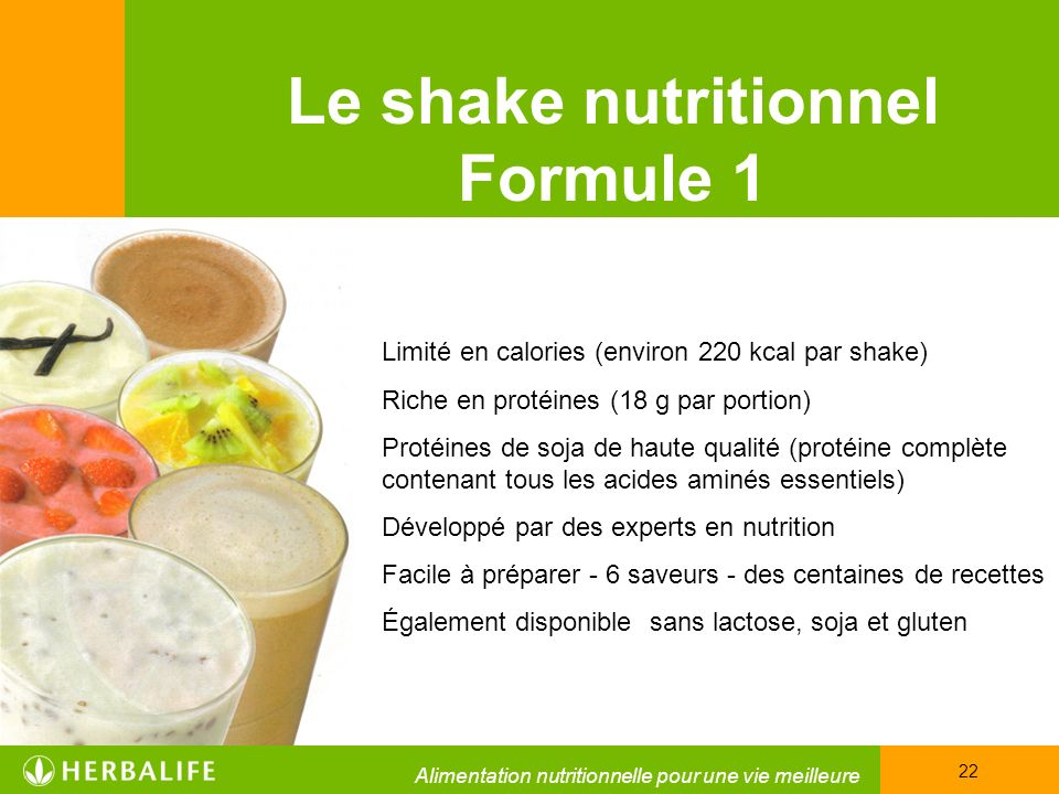 Le shake nutritionnel Formule 1