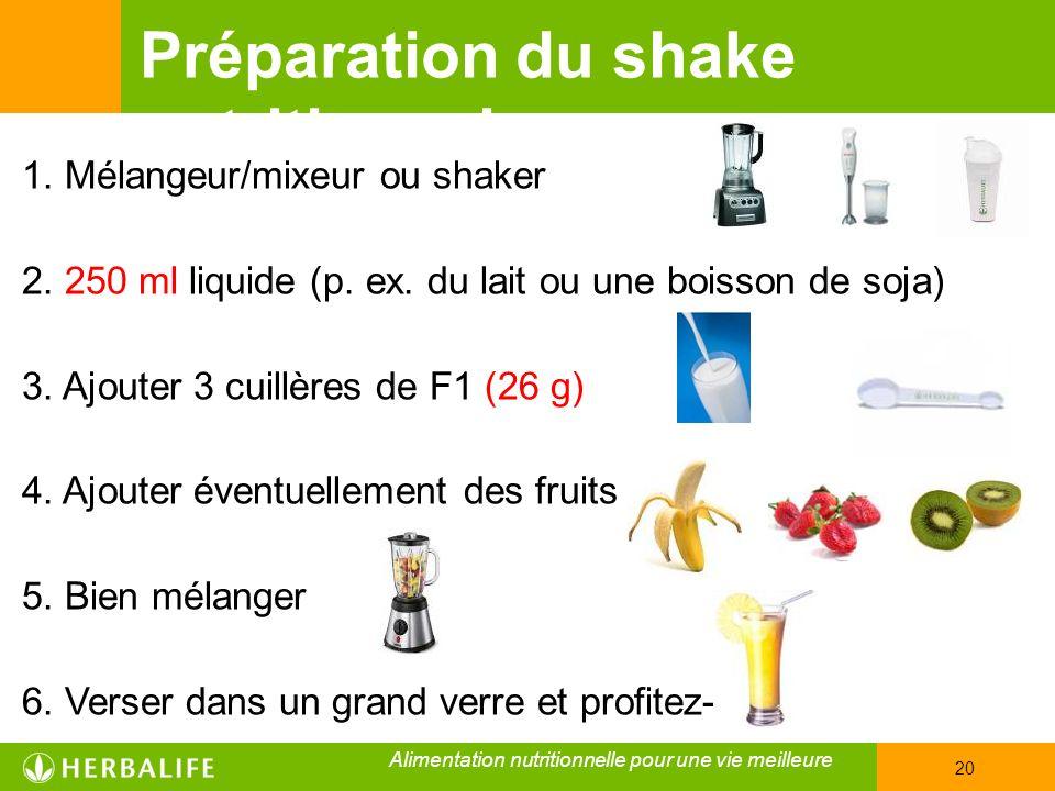 Préparation du shake nutritionnel