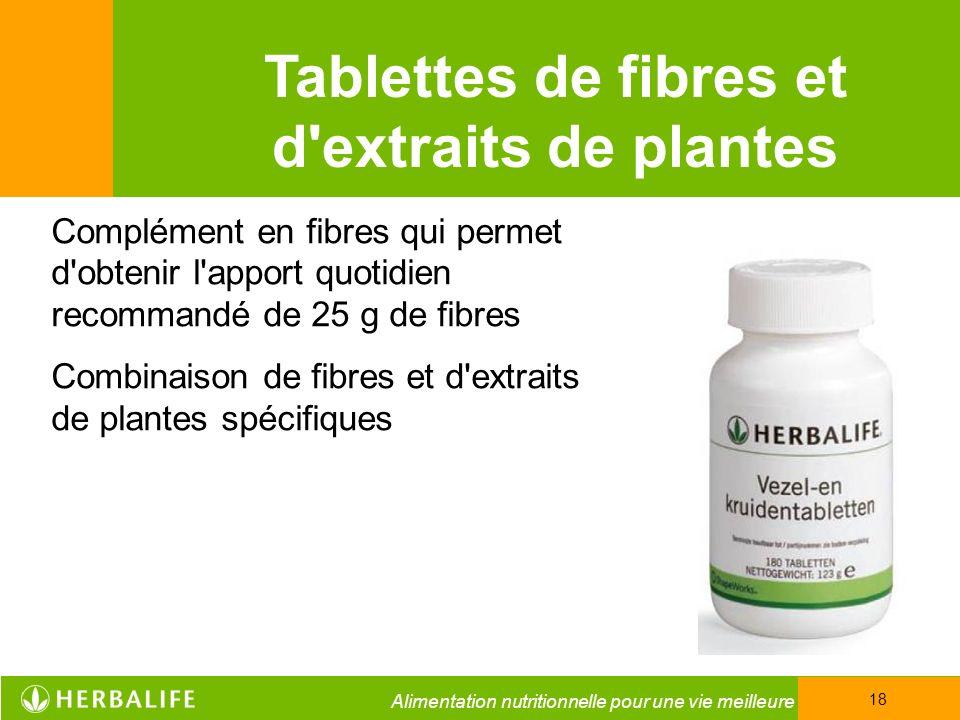 Tablettes de fibres et d extraits de plantes