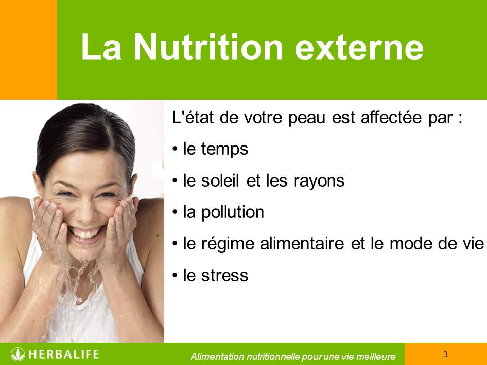 La Nutrition externe L état de votre peau est affectée par : le temps