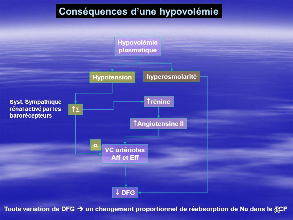 Conséquences d'une hypovolémie