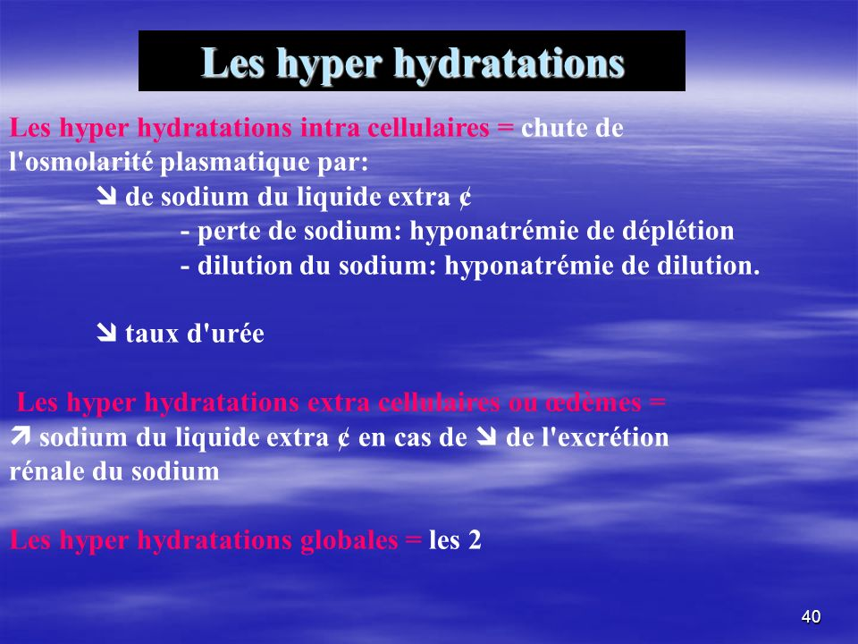 Les hyper hydratations