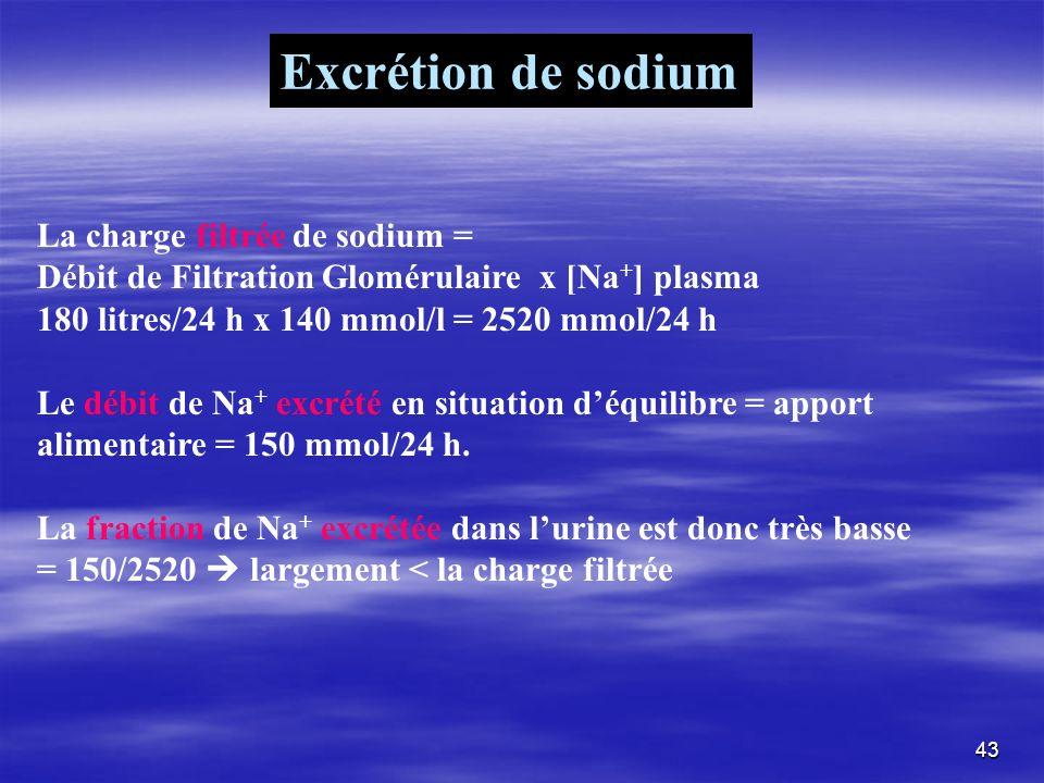 Excrétion de sodium La charge filtrée de sodium =