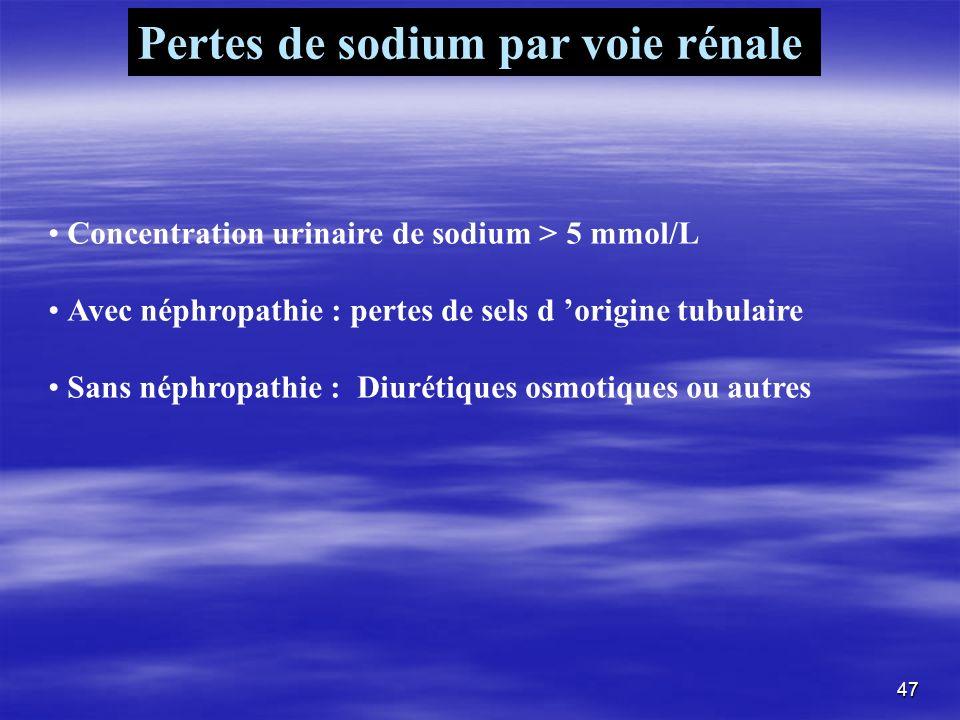 Pertes de sodium par voie rénale