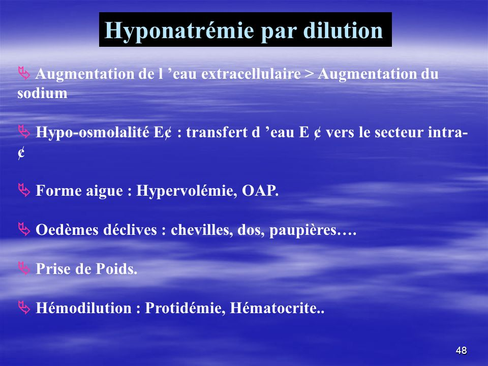 Hyponatrémie par dilution