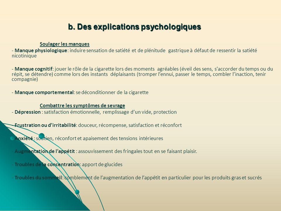b. Des explications psychologiques