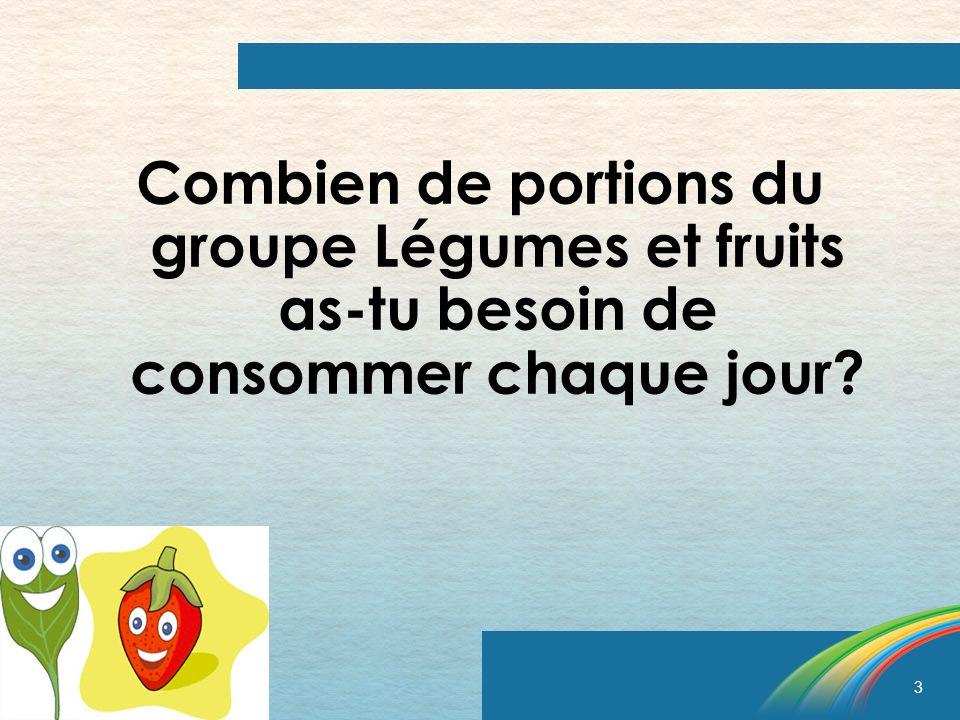 Combien de portions du groupe Légumes et fruits as-tu besoin de consommer chaque jour
