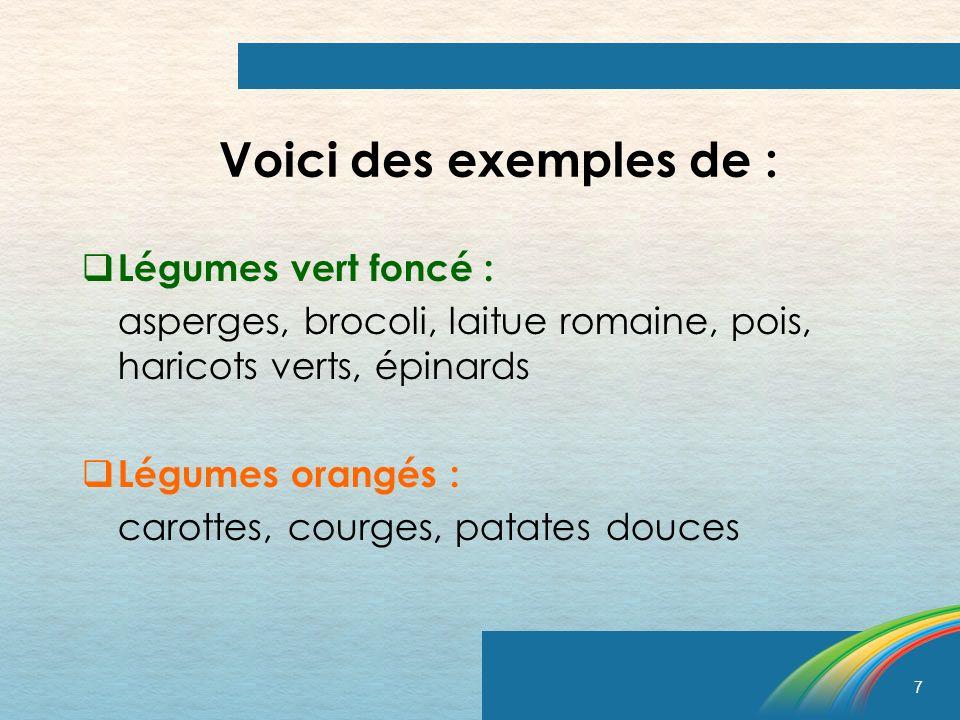 Voici des exemples de : Légumes vert foncé :