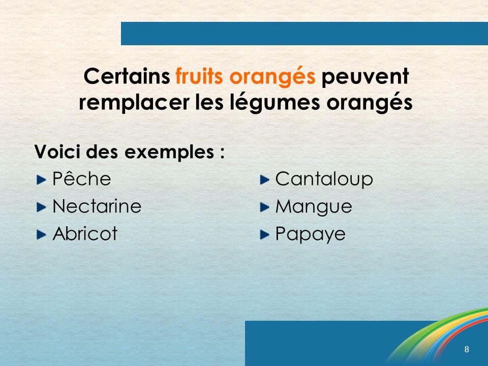 Certains fruits orangés peuvent remplacer les légumes orangés
