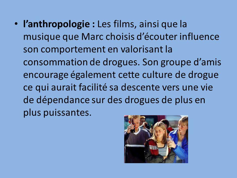 l'anthropologie : Les films, ainsi que la musique que Marc choisis d'écouter influence son comportement en valorisant la consommation de drogues.