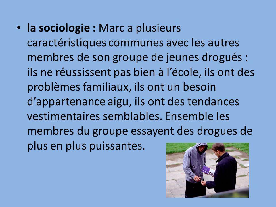 la sociologie : Marc a plusieurs caractéristiques communes avec les autres membres de son groupe de jeunes drogués : ils ne réussissent pas bien à l'école, ils ont des problèmes familiaux, ils ont un besoin d'appartenance aigu, ils ont des tendances vestimentaires semblables.