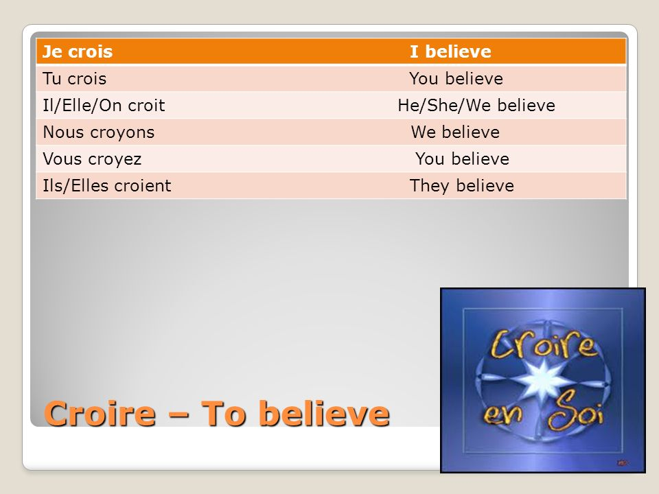 Croire – To believe Je crois I believe Tu crois You believe