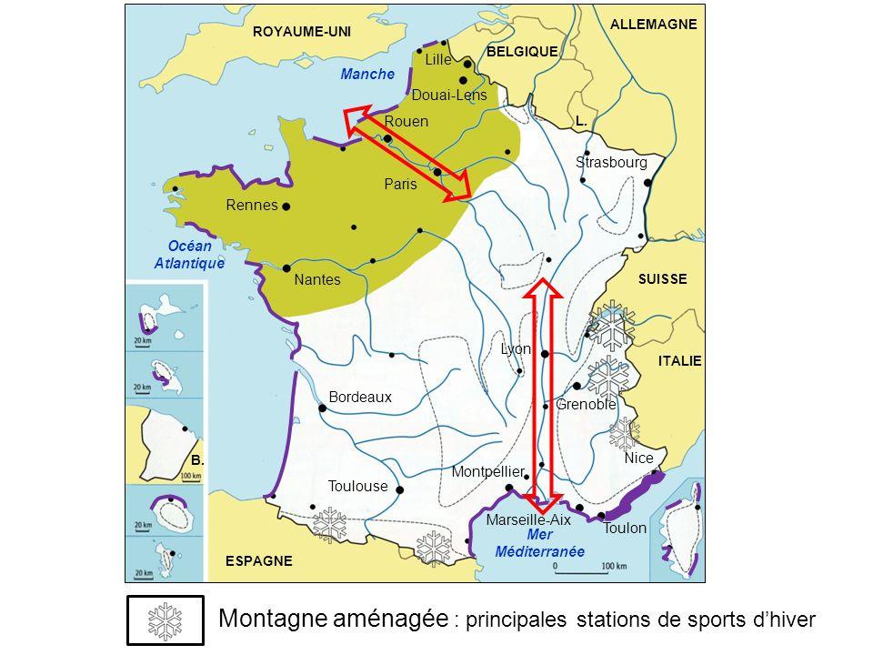 Montagne aménagée : principales stations de sports d'hiver