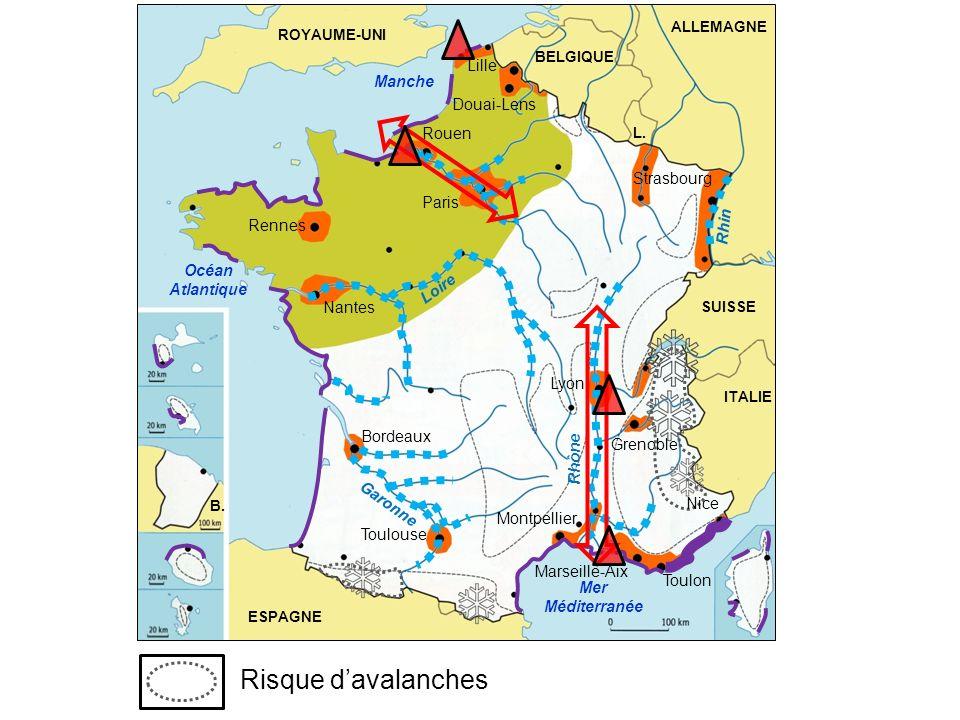 Risque d'avalanches Lille Manche Douai-Lens Rouen Strasbourg Paris