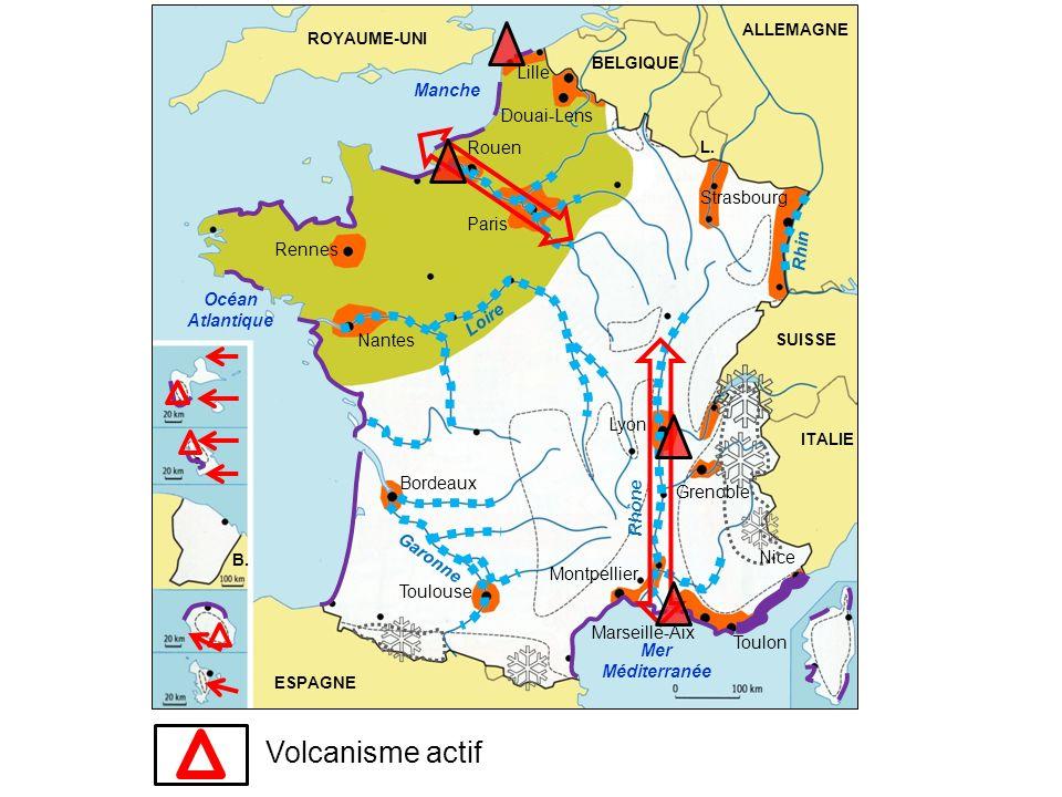 Volcanisme actif Lille Manche Douai-Lens Rouen Strasbourg Paris Rhin