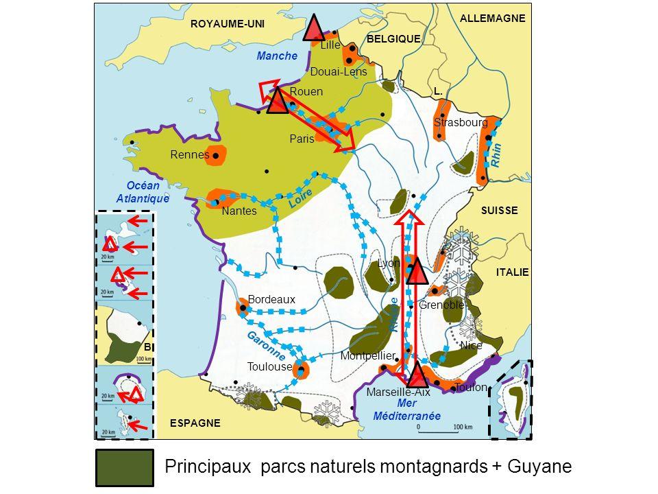Principaux parcs naturels montagnards + Guyane